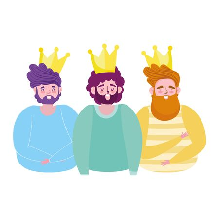happy fathers day, bearded men with gold crowns decoration vector illustration 向量圖像