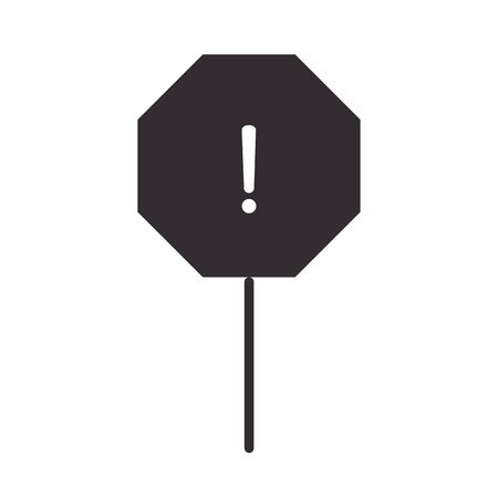 alert icon, traffic warning board, attention danger exclamation mark precaution information silhouette style design vector illustration