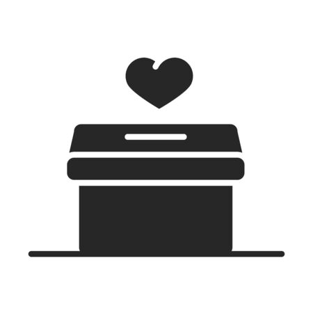 donation charity volunteer help social heart cardboard box silhouette style icon vector illustration