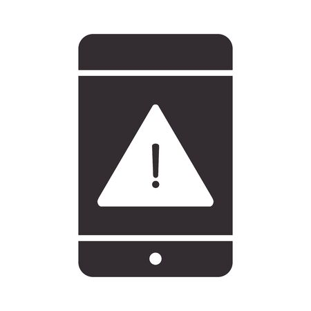 alert icon, smartphone warning sign, attention danger exclamation mark precaution silhouette style design vector illustration  イラスト・ベクター素材