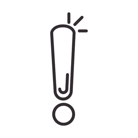 alert icon, attention exclamation mark precaution information, line style design vector illustration  イラスト・ベクター素材