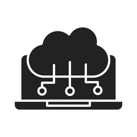 cyber security and information or network protection laptop cloud computing data technology silhouette style icon vector illustration Vectores