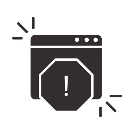alert icon, information attention danger exclamation mark precaution information silhouette style design vector illustration