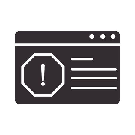 alert icon, website error problem, attention danger exclamation mark precaution information silhouette style design vector illustration