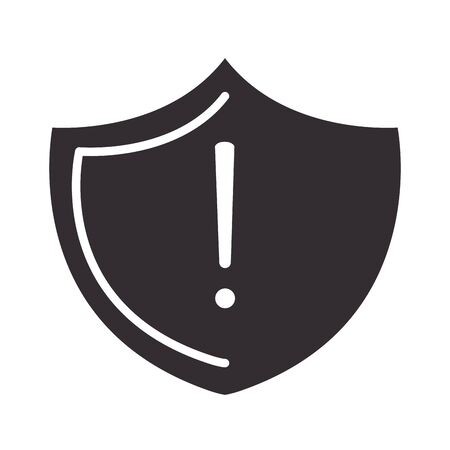 alert icon, shield protection warning sign, attention danger exclamation mark precaution silhouette style design vector illustration  イラスト・ベクター素材