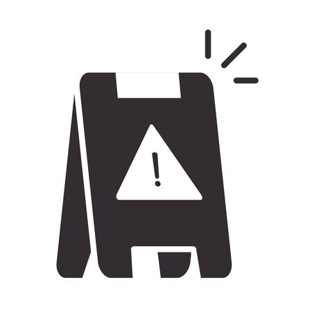 alert icon, warning board, attention danger exclamation mark precaution silhouette style design vector illustration  イラスト・ベクター素材