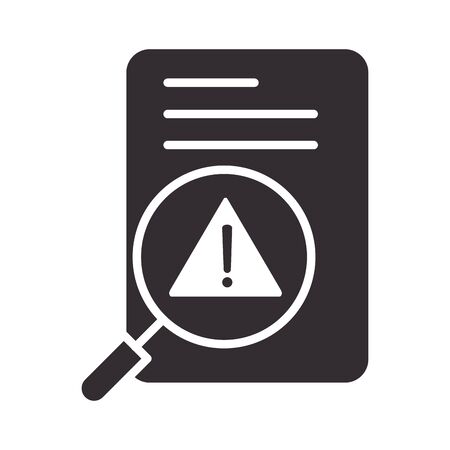 alert icon, data analysis warning, attention danger exclamation mark precaution information silhouette style design vector illustration