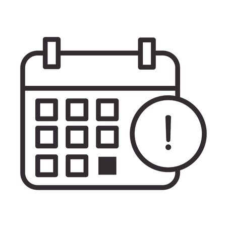 alert icon, calendar reminder attention danger exclamation mark precaution, line style design vector illustration