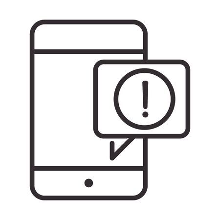 alert icon, smartphone notification warning, attention danger exclamation mark precaution, line style design vector illustration