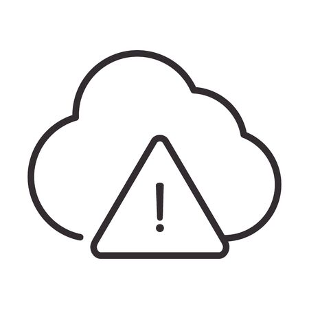 alert icon, cloud computing data warning, attention danger exclamation mark precaution, line style design vector illustration