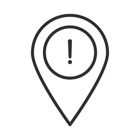 alert icon, pointer location warning, attention danger exclamation mark precaution, line style design vector illustration