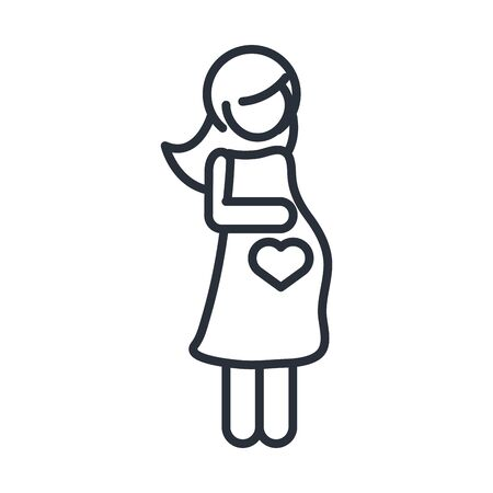 pregnant woman mother character family day, icon in outline style vector illustration