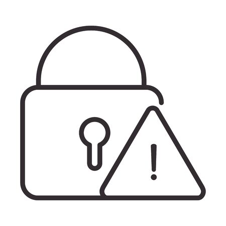alert icon, security warning sign, attention danger exclamation mark precaution, line style design vector illustration