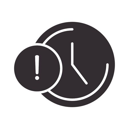 alert icon, clock time warning, attention danger exclamation mark precaution information silhouette style design vector illustration  イラスト・ベクター素材