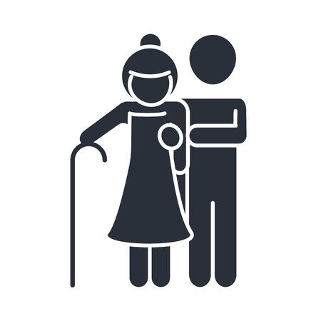 father and grandmother with walk stick family day, icon in silhouette style vector illustration