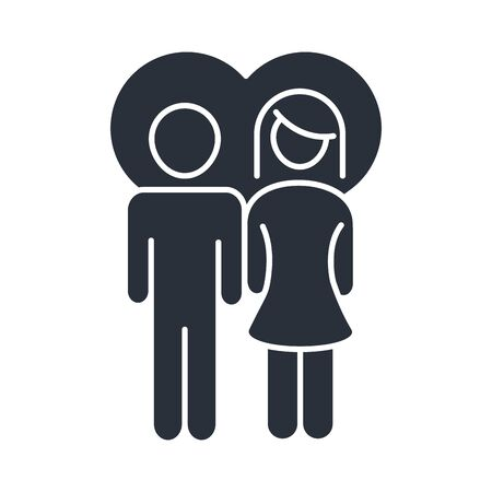 parents couple in love heart family day, icon in silhouette style vector illustration