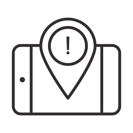 alert icon, smartphone pointer location warning, attention danger exclamation mark precaution information, line style design vector illustration  イラスト・ベクター素材