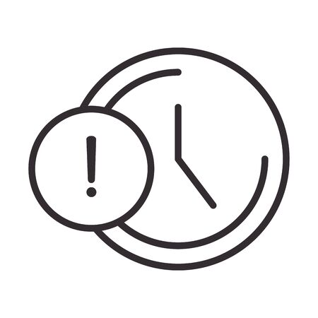 alert icon, clock time warning, attention danger exclamation mark precaution information, line style design vector illustration