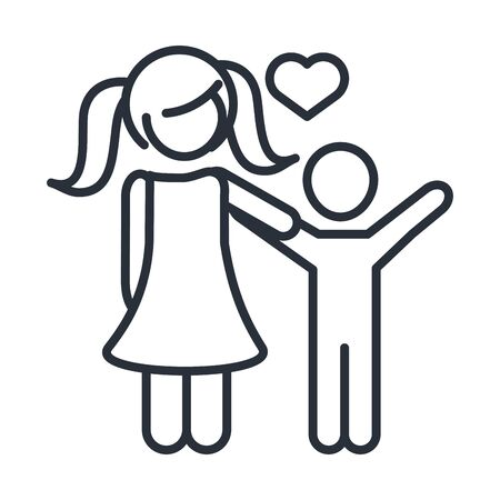 daughter and little son character family day, icon in outline style vector illustration