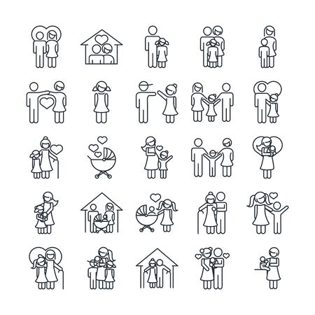 family day, father mother kids grandparents characters, set icon in outline style vector illustration Vettoriali