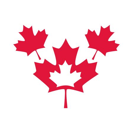canada day, red maple leaves national symbol vector illustration flat style icon