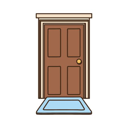 home door with carpet isolated icon design white background vector illustration