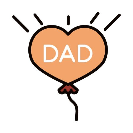 happy fathers day, balloon shaped heart dad decoration celebration vector illustration line and fill icon 向量圖像