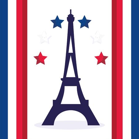 france eiffel tower with stars design, Happy bastille day and french theme Vector illustration