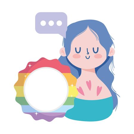 girl cartoon with lgtbi seal stamp design, Pride day orientation and identity theme Vector illustration