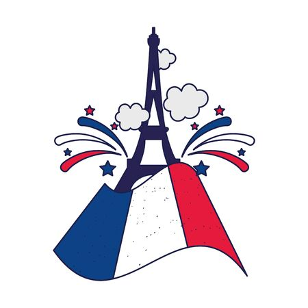 france eiffel tower with flag design, Happy bastille day and french theme Vector illustration