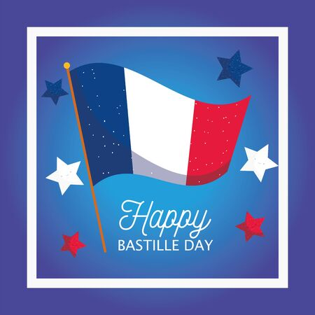 france flag with stars inside frame design, Happy bastille day and french theme Vector illustration