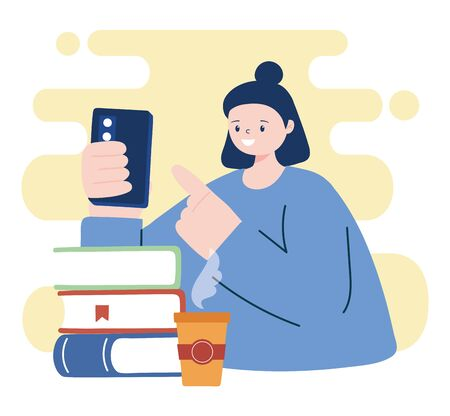 Woman with smartphone and books design, Cellphone and mobile theme Vector illustration