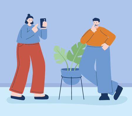 Woman and man with smartphone design, Cellphone and mobile theme Vector illustration Vectores