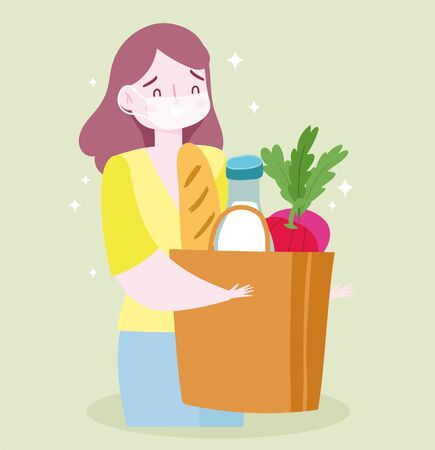 safe delivery at home during coronavirus covid-19, female customer carrying grocery bag with food vector illustration
