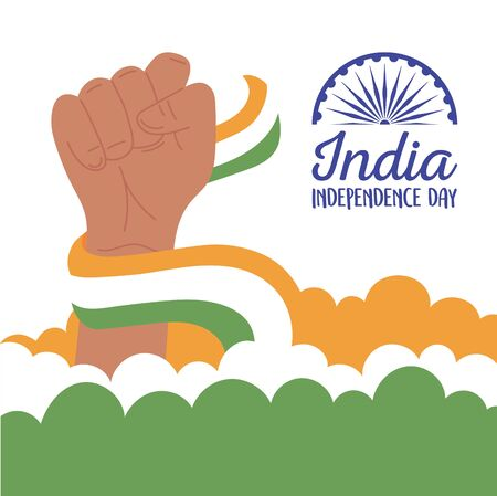 happy independence day india, raised hand with waving flag patriotic celebration vector illustration