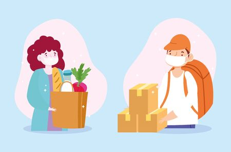 safe delivery at home during coronavirus covid-19, courier man and customer wearing masks with bag and boxes vector illustration