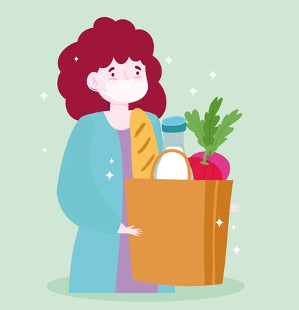 safe delivery at home during coronavirus covid-19, customer woman with medical mask and grocery bag with food vector illustration Illusztráció