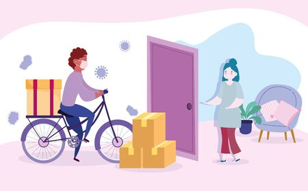 safe delivery at home during coronavirus covid-19, courier man riding bike and customer waiting deliver in house vector illustration Illusztráció