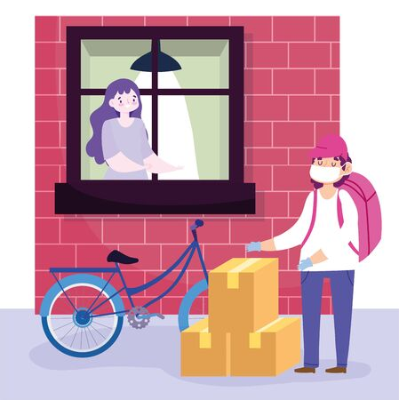 safe delivery at home during coronavirus covid-19, courier man with mask and boxes and customer looking out the window vector illustration