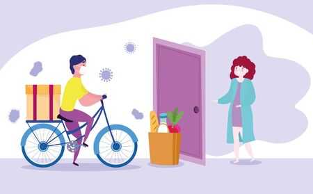 safe delivery at home during coronavirus covid-19, man riding bike with cardboard boxes and market bag in customer house vector illustration