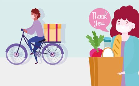 safe delivery at home during coronavirus covid-19, courier man riding bike with box and woman customer with grocery bag vector illustration Illusztráció