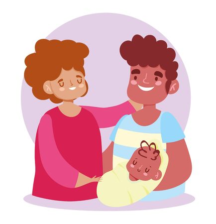 afroamerican mother father and baby, family day vector illustration