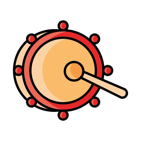 musical drum and drumsticks instrument percussion celebration vector illustration line and fill icon Ilustrace