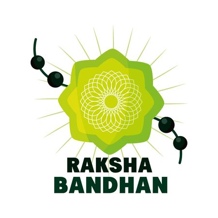 raksha bandhan, traditional indian wristband symbol of love between brothers and sisters vector illustration
