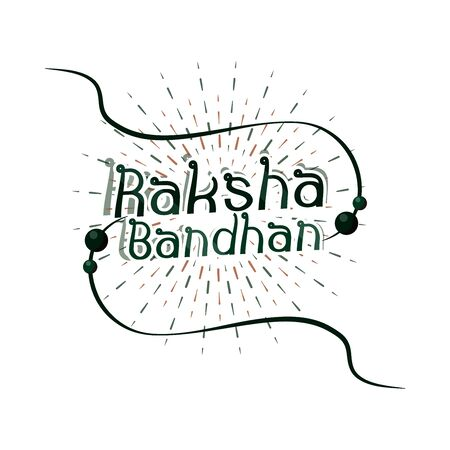 raksha bandhan, traditional indian bracelet symbol of love between brothers and sisters vector illustration