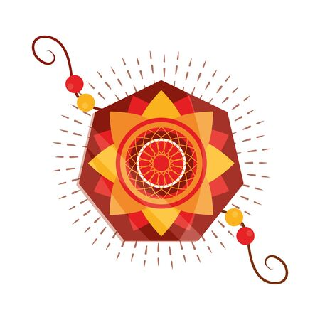 raksha bandhan, traditional bracelet of love brothers and sisters indian festival vector illustration