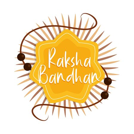 raksha bandhan, traditional indian bracelet bonding celebration brothers and sisters vector illustration