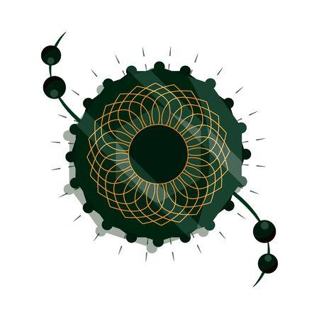 raksha bandhan, traditional indian bracelet mandala of love between brothers and sisters vector illustration