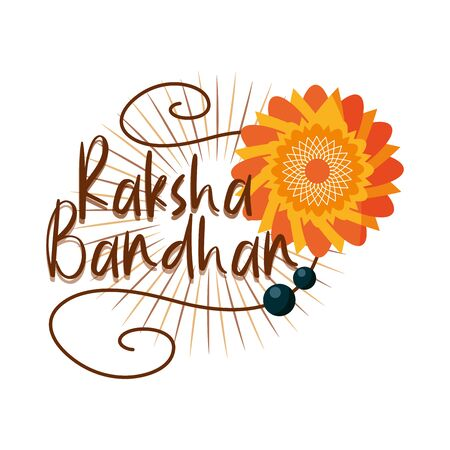 raksha bandhan, traditional indian bracelet bonding celebration brothers and sisters vector illustration