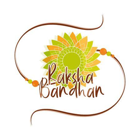 raksha bandhan, traditional indian wristband symbol of love between brothers and sisters vector illustration Ilustracje wektorowe
